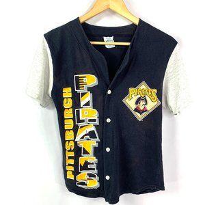 Vtg '94 MLB Pittsburgh Pirates Button Baseball Tee